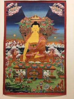 Shakya Muni Buddha Thangka Painting with 24K Real Gold