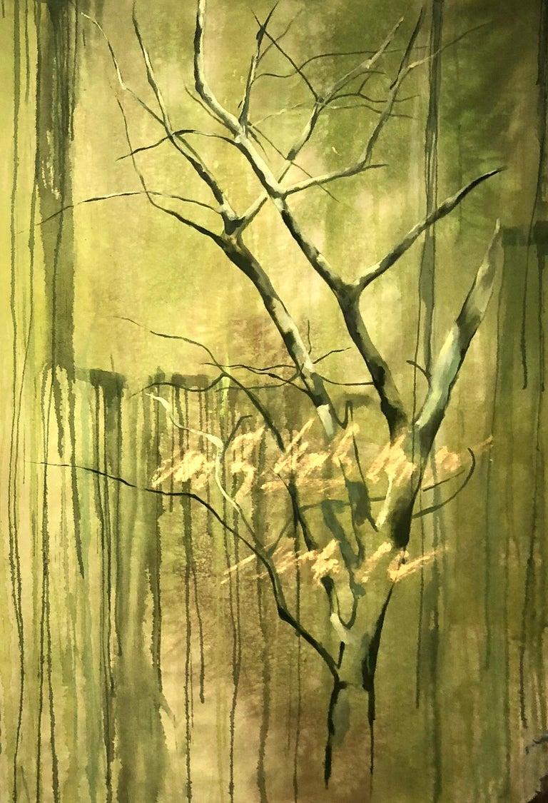 """Guillermo Conte Landscape Painting - """"Almendro Verde II"""", Canvas"""