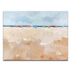 'Umbrella Day' Wrapped Canvas Original Coastal Painting by Dana McMillan