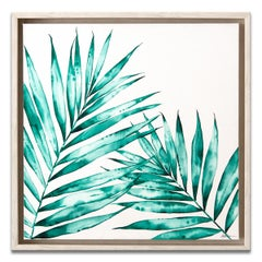 'Pair Of Palms' Framed Canvas Original Watercolor Painting by Laurie Duncan