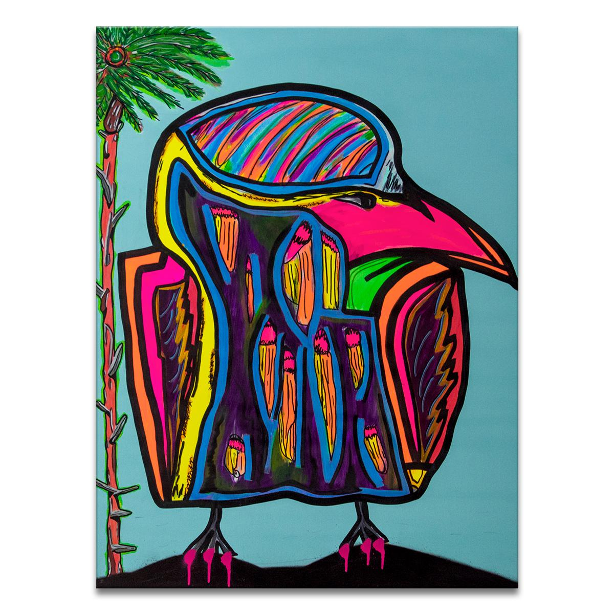 'Untitled X' Wrapped Canvas Original Street Art Painting by Big Bear