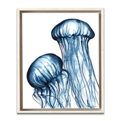 'Dancing Jellies' Framed Canvas Original Watercolor Painting by Laurie Duncan