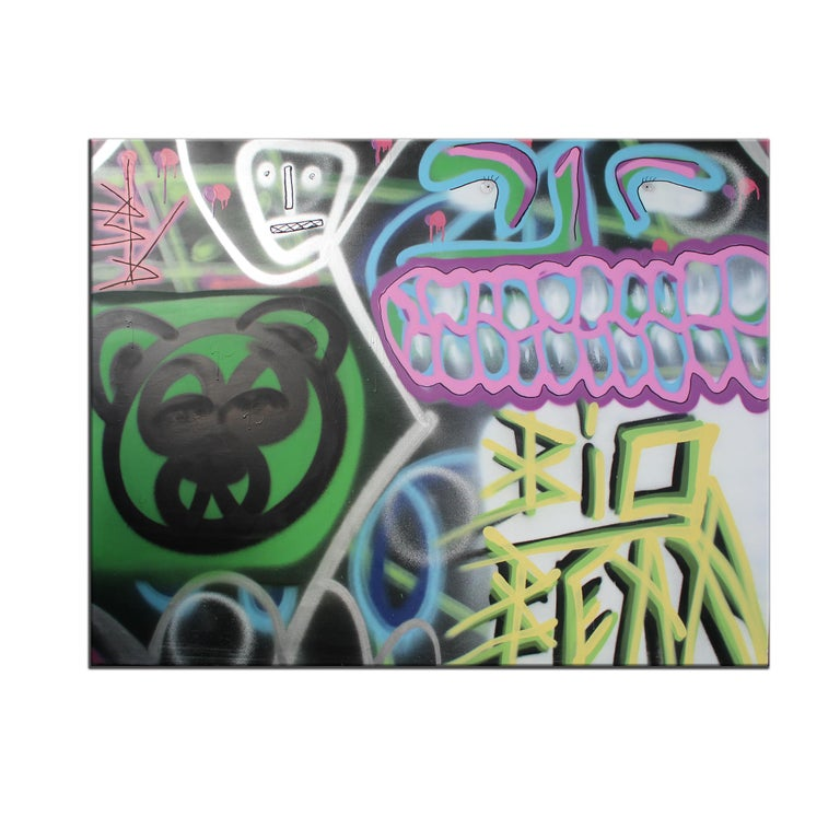 'Untitled XIII' Wrapped Canvas Original Painting features a bold, eccentric street art aesthetic saturated in vibrant tones of green, yellow, pink, purple, blue, silver, white, and black. Spray paint can in hand, Big Bear's urban artistry is