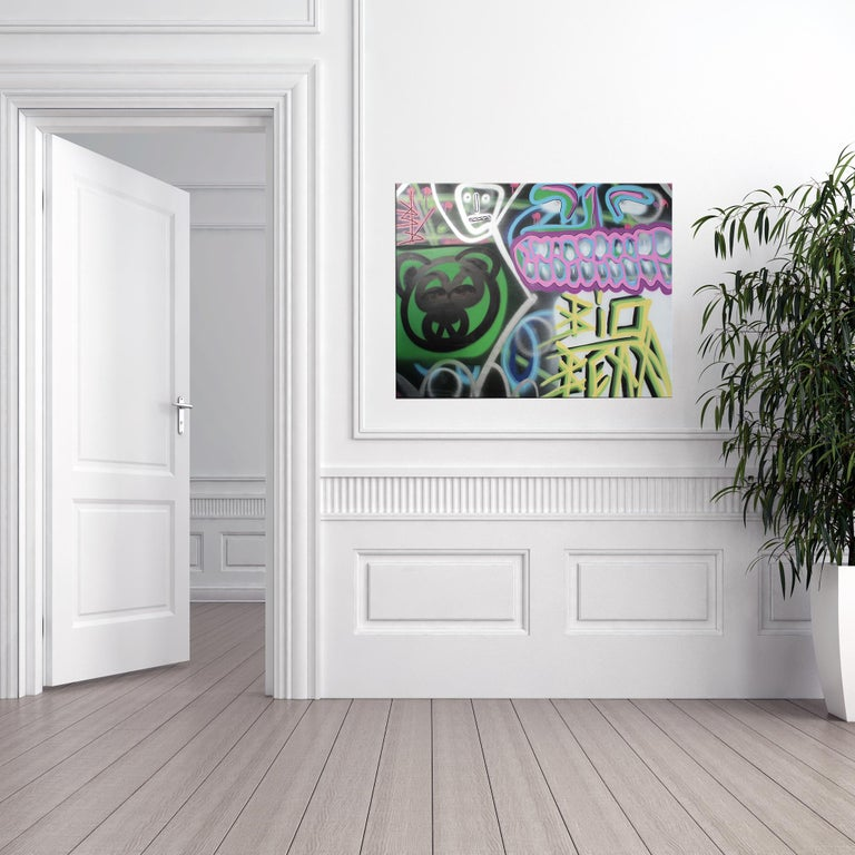 'Untitled XIII' Wrapped Canvas Original Street Art Painting by Big Bear  For Sale 3