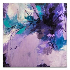 'Violet Splash' Wrapped Canvas Original Abstract Painting by Tammy Staab