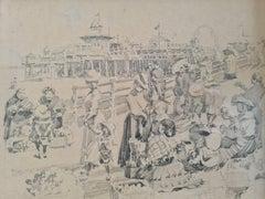 Belle Epoque Summer Day, Beach Scene, Brighton