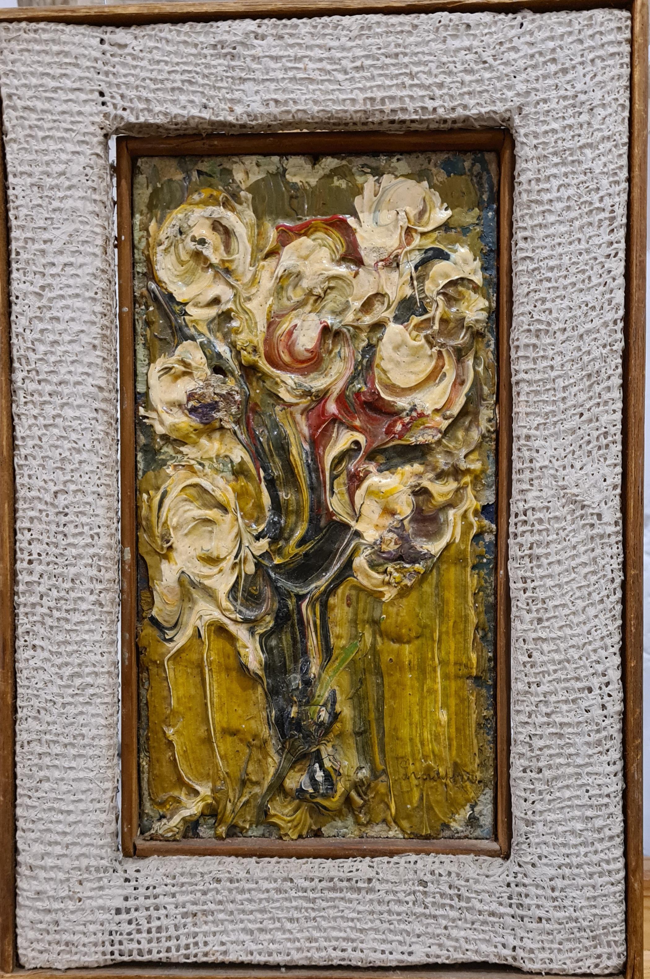 Flowers in a Vase, Scandinavian sculpture painting, mid century.
