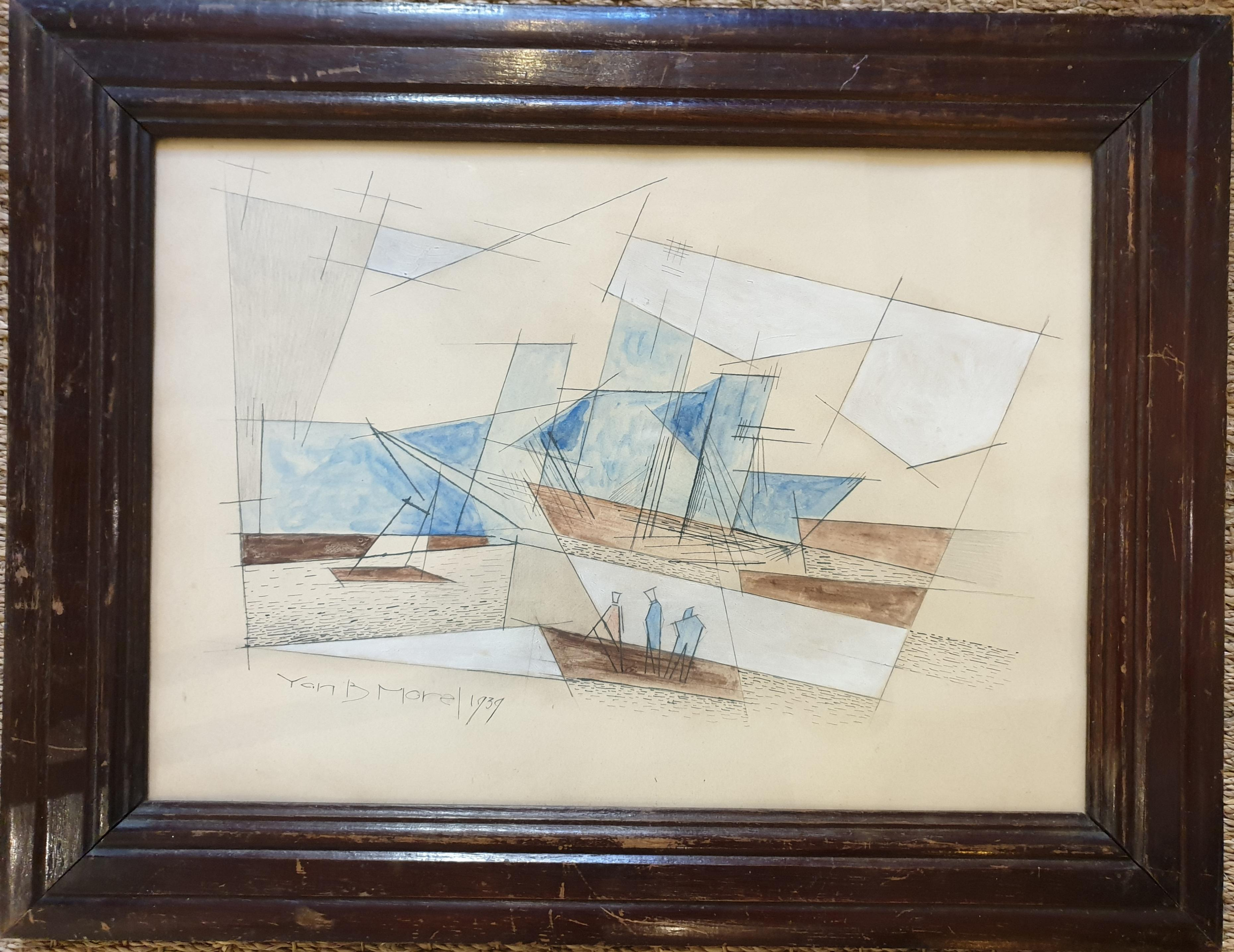 Late Art Deco Period Cubist Nautical Harbour Scene