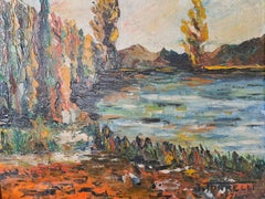 Mid-Century Barbizon School Impressionist Lakeside Landscape, Oil on Board.
