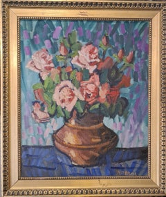 Still Life of Roses in a Vase, Mid-Century French Oil on Canvas.