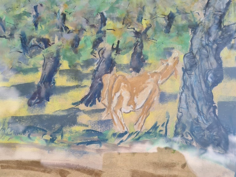 Pair of watercolours. Possibly Views From The Santa Fe Railroad - Gray Animal Art by Edgar Alwin Payne