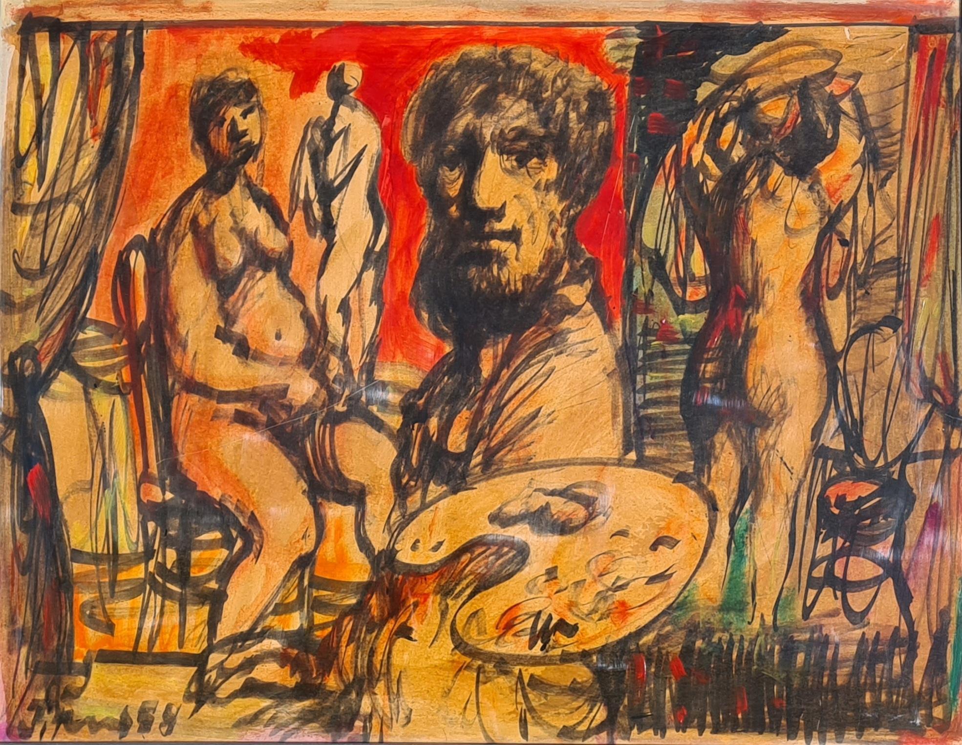 The Artist In His Atelier, Mid Century, Ecole De Nice