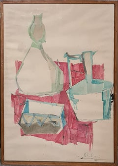 Tablescape With Red Cloth, 1956