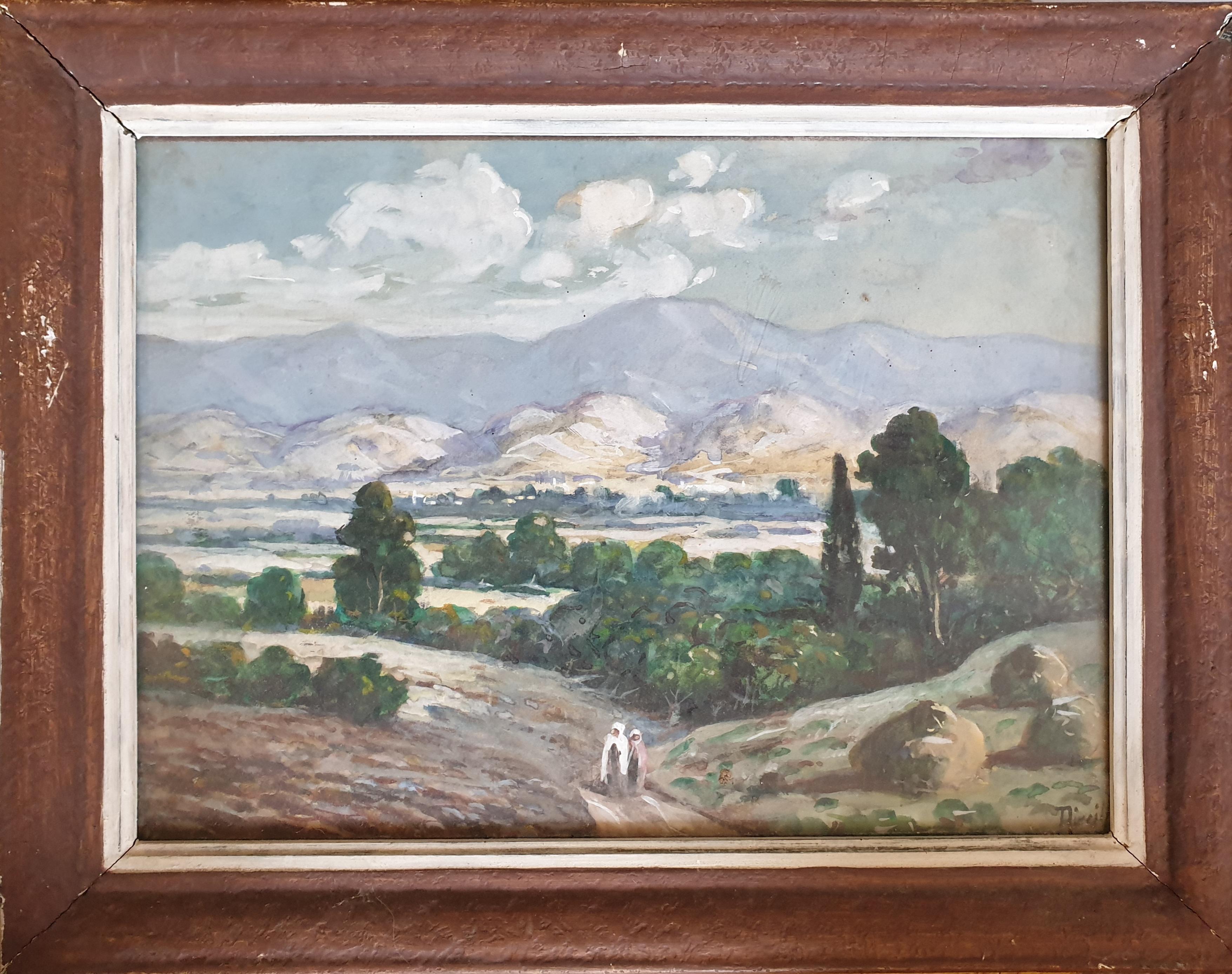 The Long Walk Home. Orientalist Watercolour.