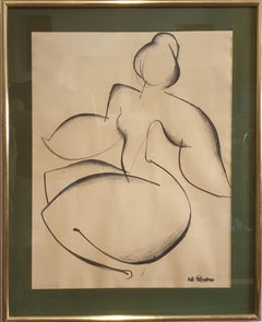Mid Century Female Nude, Charcoal on Paper.