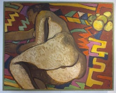 Large fauvist oil painting on canvas. Francoise, Female nude reclining on kilim.