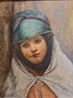 Mauresque, Bou Saada, Orientalist portrait of a young girl in costume.
