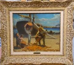Debarquement des Oranges, Marseille, 1900. French Realist, oil on panel.