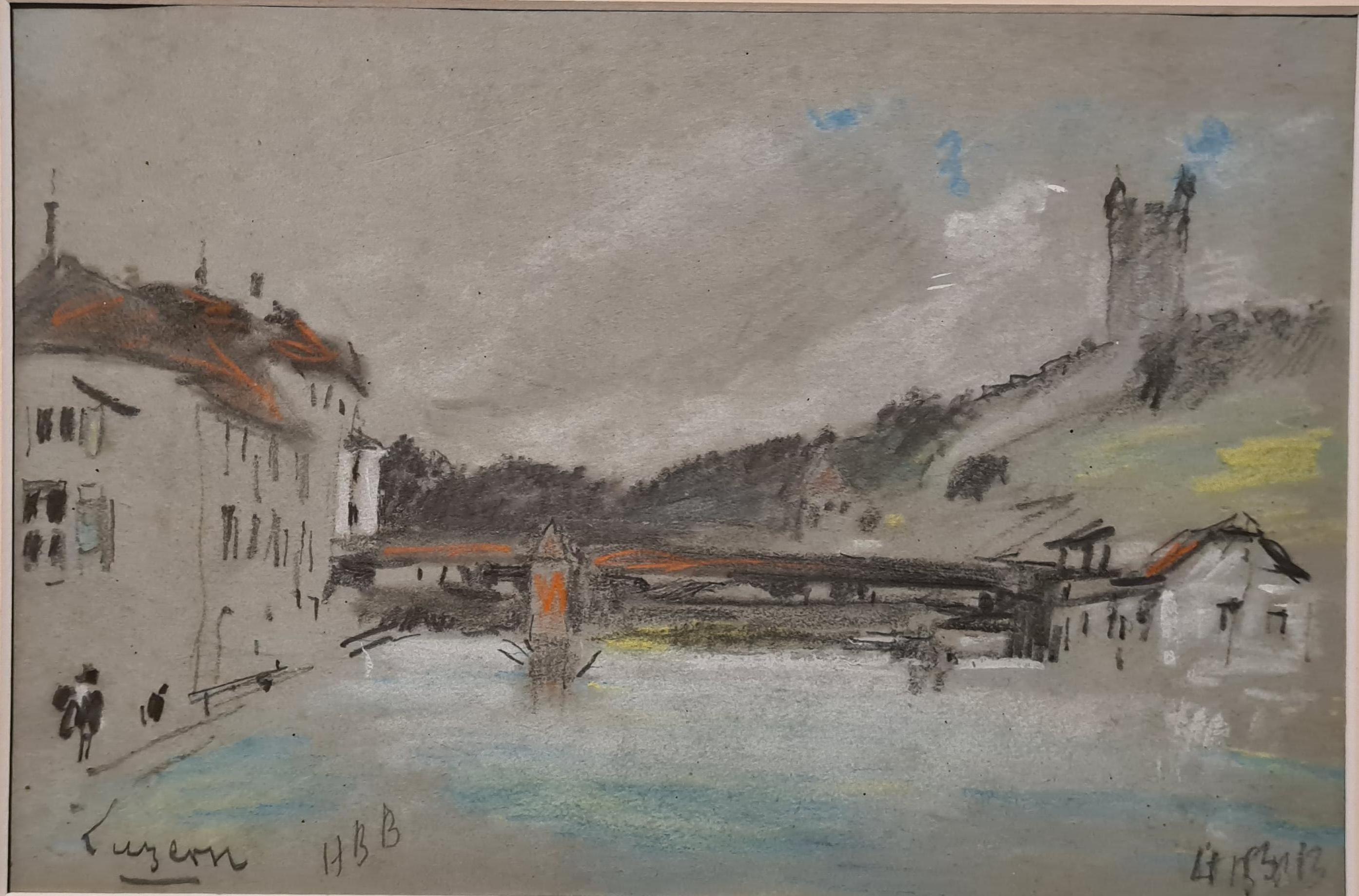 19th century pastel of a river scene, The Chapel Bridge, Lucerne, Switzerland.