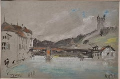19th century pastel of a river scene, The Chapel Bridge, Lucerne, Switzerland.