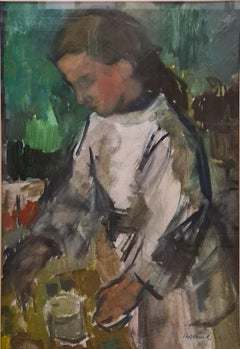 Large Swedish Impressionist painting of a Girl in a White Dress