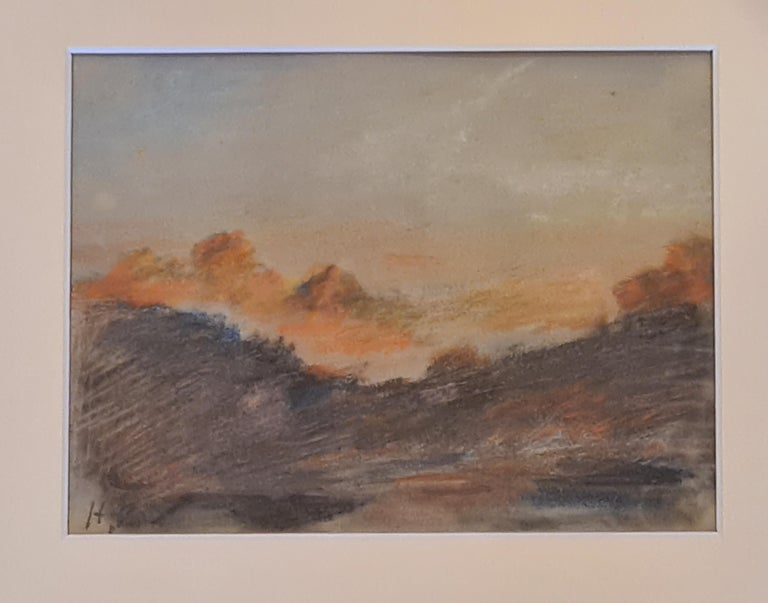 Sunset on the Alps - Brown Landscape Art by Hercules Brabazon Brabazon