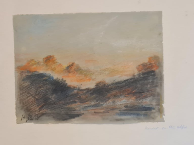 Late 19th century drawing and crayon view of a sunset over the Alps by Hercules Brabazon Brabazon. Initial signed (HBB) by the artist.  Brabazon would have visited, seen and drawn the Alps on one of his trips to Italy, France or Switzerland and