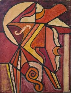 Cubist Abstract Mid-Century Oil on Canvas.