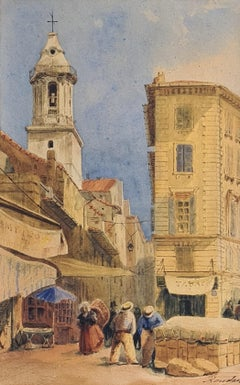 Street View of the City of Marseille and St Ferréol, Watercolour on Paper.