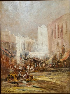 The Market, Constantinople. Mid 19th Century Oriental Realist Oil.