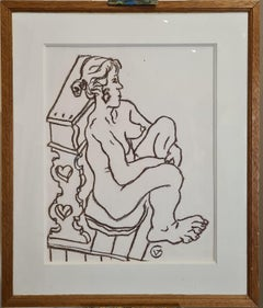 20th Century Female Nude, Crayon on Paper, Signed GV.