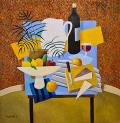 Tablescape with Cheese and Wine. Oil on Canvas.