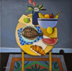 Breakfast Tablescape with Plaice. Oil on Canvas.