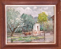 Cattle, Goats and Sheep Grazing, Orientalist Watercolour.