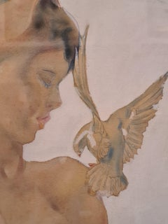 Beauty and the White Dove, Mid Century Franco-Russian Watercolour