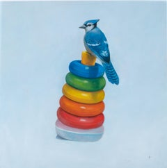 The Ringer - Blue Jay Resting Atop Vintage Ring Toy