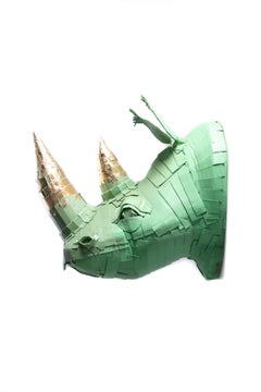 Rhino #3 in Mint Green with Gold Leaf Horn Detail