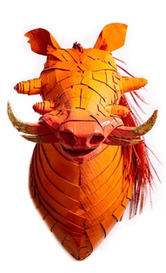 Warthog in Hermès Orange with Gold Leaf Horn Detail