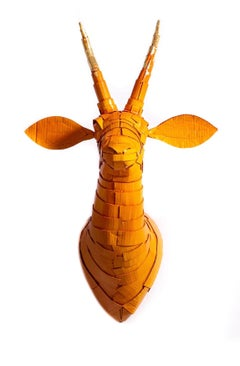 Gazelle #5 in Persimmon Orange with Gold Leaf Horn Detail