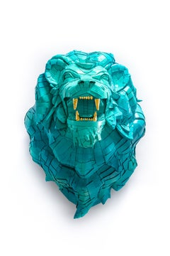 Lion #2 in Turquoise Ombré with Gold Leaf Teeth Detail