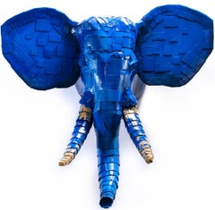 Large Elephant #4 in Blue with Gold Leaf Detail
