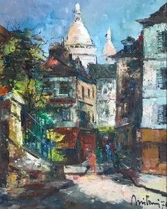 Narrow street and view of Notre Dame, Paris