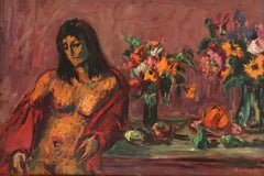 Nude with two bouquets