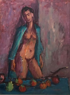 Nude with persimmons