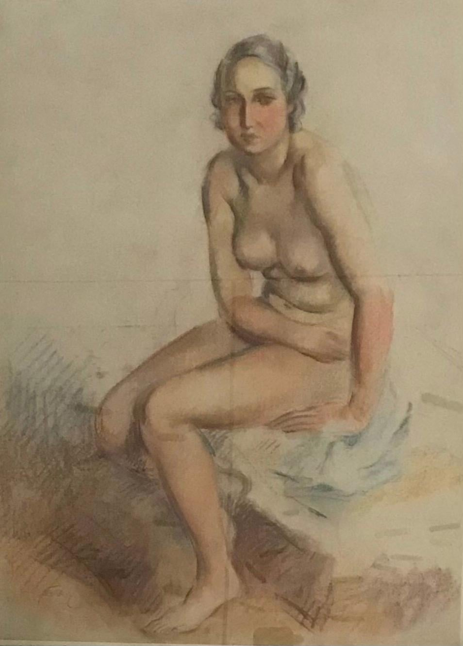 Naked woman sitting