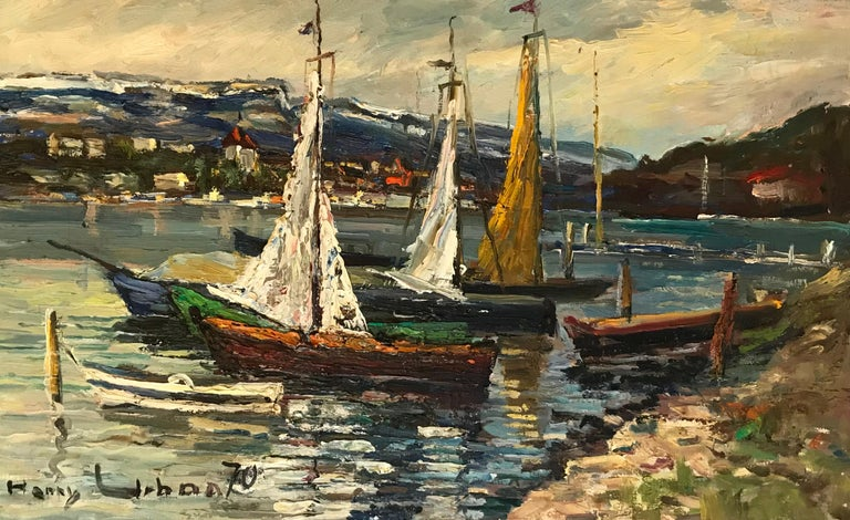 Harry Urban Landscape Painting - Voiliers en bord de lac - Sailboats by the lake