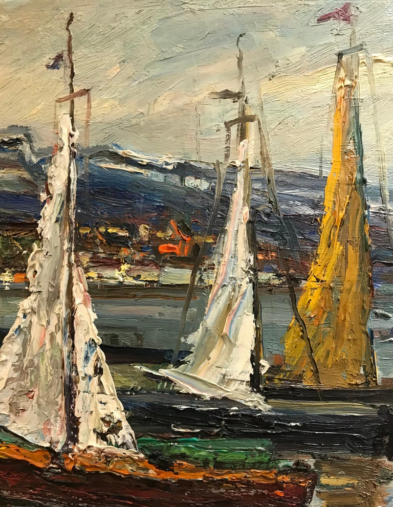 Voiliers en bord de lac - Sailboats by the lake - Brown Landscape Painting by Harry Urban