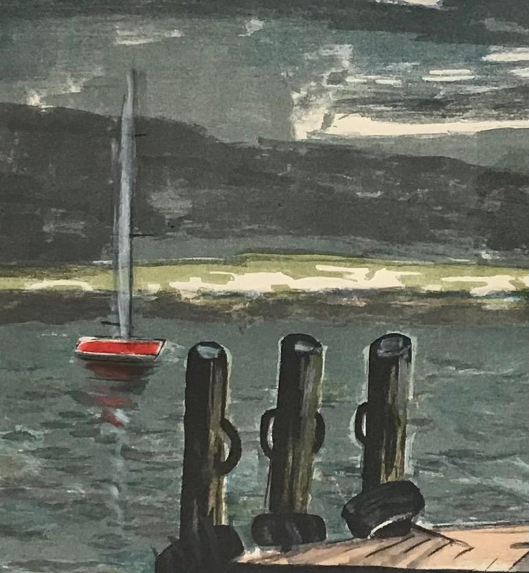 Sailboats - Gray Landscape Print by William Goliasch