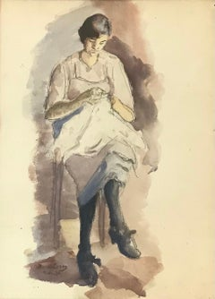 Young woman at sewing