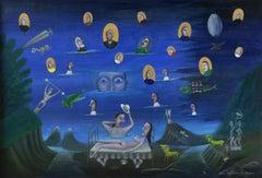 Morning glory. Surrealistic artwork. Oil on canvas, 65x92 cm